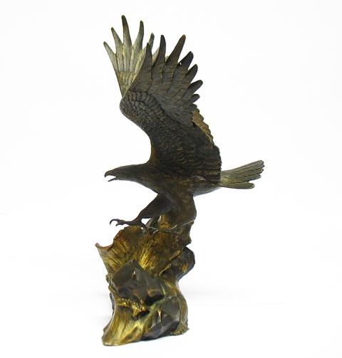 Sculpture Golden Eagle Bronze Fine Art Franklin Mint