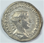 NEAR MINT ROMAN SILVER COIN OF GORDIAN III, 238-244 AD WITH APOLLO