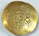 RARE NEAR MINT BYZANTINE GOLD HISTAMENON OF MICHALE VII WITH PORTRAIT OF CHRIST, 1071-1078 AD