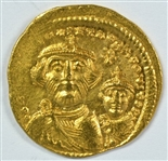 NEAR MINT BYZANTINE GOLD SOLIDUS OF HERAKLIOS AND SON, 610-641 AD