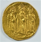 VERY SCARCE NEAR MINT HERAKLIOS AND HIS TWO SONS BYZANTINE GOLD SOLIDUS, 610-641 AD