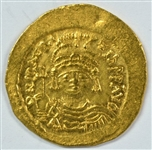LUSTROUS VIRTUAL MINT STATE MAURICE TIBERIOS BYZANTINE GOLD SOLIDS, 582-602 AD. SCARCE