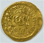 SCARCE MINT STATE JUSTIN II BYZANTINE (LATE ROMAN) GOLD SOLIDUS, 565-578 AD