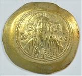NEAR MINT BYZANTINE EMPIRE GOLD HISTAMENON OF MICHAEL VII WITH CHRIST ENTHRONED, 1071-1078 AD