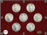 CHOICE TO GEM BU SET OF NEW ORLEANS MINT MORGAN SILVER DOLLARS 1898 TO 1904 INCLUDING RARE 1903-O IN HOLDER