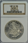 SCARCE IMPRESSIVE SEMI-PROOFLIKE 1892-CC MORGAN SILVER DOLLAR. NGC MS63