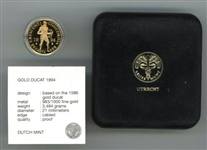 SUPERB ULTRA GEM CAMEO PROOF 1994 NETHERLAND GOLD DUCAT IN CUSTOM BOX AND CAPSULE