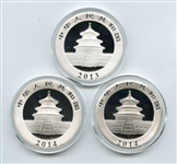 THREE NEARLY PERFECT CHINESE 10 YUAN PANDA .999 PURE ONE OUNCE SILVER COINS