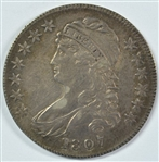 ULTRA SCARCE AU 1807 (50/20) CAPPED BUST HALF DOLLAR. ORIGINAL