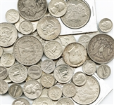 BULK MIXED LOT OF 53 SILVER COINS