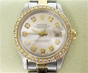 ROLEX LADIES 18K & STAINLESS QUICKSET DATEJUST WITH DIAMOND BEZEL AND DIAL