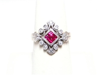 ANTIQUE STYLE 14K WG RUBY & DIAMOND RING
