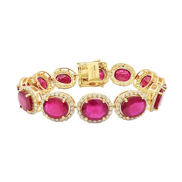 14K RUBY AND DIAMOND BRACELET 58.55 C.T.W.