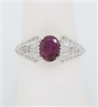 RUBY & DIAMOND RING MADE IN 18K WHITE GOLD