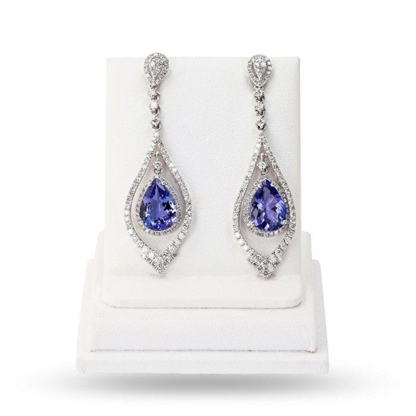PLATINUM TANZANITE AND DIAMOND EARRINGS 6.33 C.T.W.