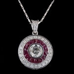 18K RUBY AND DIAMOND PENDANT WITH CHAIN 2.85 C.T.W.