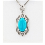 14K TURQUOISE AND DIAMOND PENDANT WITH CHAIN 12.65 C.T.W.