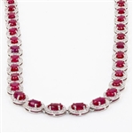 PLATINUM RUBY AND DIAMOND NECKLACE 32.70 C.T.W.