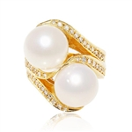 14K WHITE SOUTH SEA PEARL AND DIAMOND RING