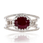 PLATINUM RUBY AND DIAMOND RING 2.80 C.T.W.