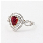 18K RUBY AND DIAMOND RING 0.99 C.T.W.