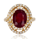 14K RUBY AND DIAMOND RING 9.15 C.T.W.