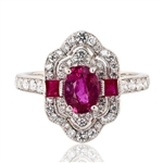 PLATINUM RUBY AND DIAMOND RING 2.28 C.T.W.