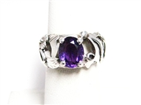 1.50 CT AMETHYST STERLING SILVER ORNATE RING