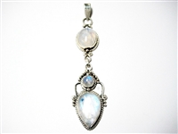 LONG STERLING SILVER PENDANT WITH MOONSTONES