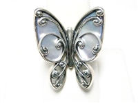 "LARGE STERLING & MOTHER OF PEARL ""BUTTERFLY"" RING"