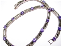 FANCY STERLING NECKLACE WITH PURPLE CZS AND MARCASITES