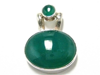 LARGE STERLING SILVER PENDANT WITH 2 CHALCEDONY