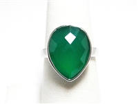 6 CT GREEN CHALCEDONY STERLING SILVER RING