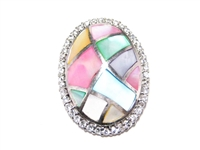 MOTHER OF PEARL MOSAIC STERLING BROOCH WITH CZS
