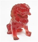 HAND CARVED AMBER FOO DOG STATUE