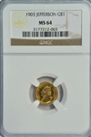 SEMI-PROOFLIKE GEM BU 1903 JEFFERSON COMMEMORATIVE GOLD DOLLAR. NGC MS64