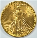 CHOICE BU 1924 ST. GAUDENS $20 GOLD PIECE. FRESH
