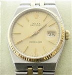 RARE MENS 14K & STAINLESS OYSTERQUARTZ QUICKSET DATEJUST