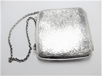 LARGE VINTAGE STERLING SILVER PURSE & CHAIN
