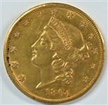 VERY SCARCE NEAR MINT 1864-S TYPE I $20 LIBERTY GOLD PIECE