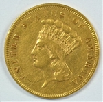 GREAT-LOOKING NEAR MINT 1855 US $3 GOLD PIECE. RARE