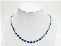 14K SAPPHIRE AND DIAMOND NECKLACE 36.70 C.T.W.