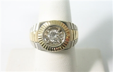 14K MENS TWO TONE ROLEX STYLE .50 CT. DIAMOND SOLITAIRE RING