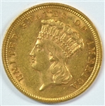 BEAUTIFUL VIRTUAL BU 1854 US $3 GOLD PIECE. FRESH!