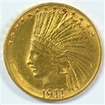 SATINY-FRESH BU 1911 US $10 INDIAN GOLD PIECE. FULL STRIKE