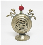 CHINESE SILVER TONE DRAGON SNUFF BOTTLE