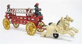 CAST IRON HORSE PULLED FIRE TRUCK