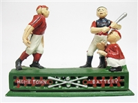 "CAST IRON ""HOMETOWN BATTERY"" MECHANICAL BANK"