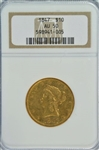 NEAR MINT 1847 NO MOTTO $10 LIBERTY GOLD. NGC AU50