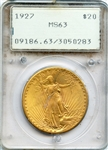 CHOICE BRILLIANT UNCIRCULATED 1927 SAINT GAUDENS GOLD COIN  MS63
